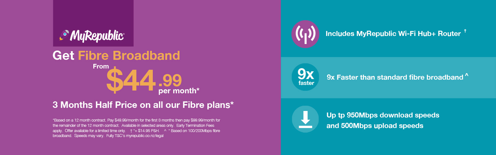 MyRepublic - 3 months HALF PRICE Fibre Offer