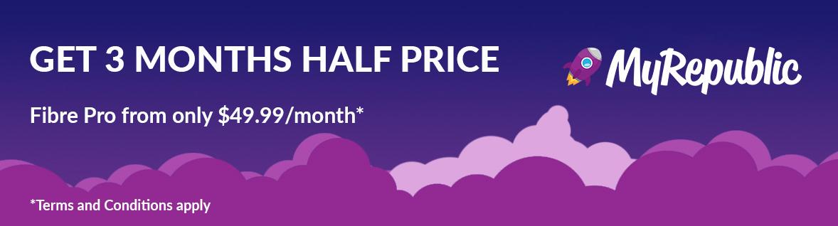 MyRepublic - 3 months half price Fibre Pro