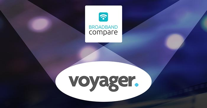 Spotlights shining on Voyage Broadband logo
