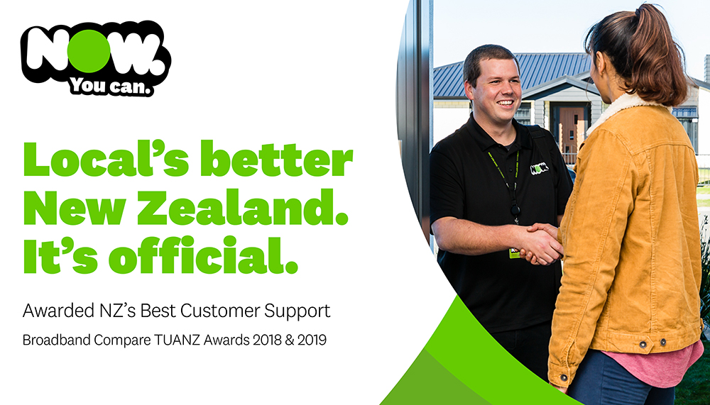 NOW broadband has won New Zealand's 'Best Customer Support' for the second year
