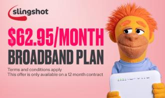 Slingshot Exclusive Offer Unlimited Fibre 100 - ONLY $62.95/mth Plus Bundle Discounts T&C's apply